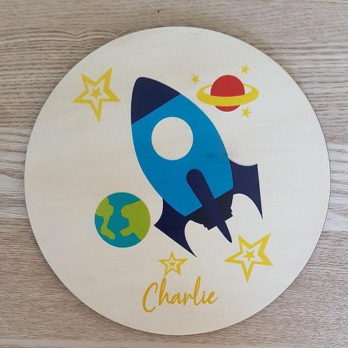 Rocket Personalised Printed Plaque