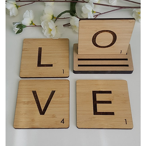 Set of 4 LOVE Bamboo Coasters