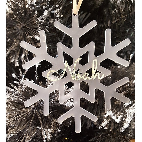 Personalised Acrylic Name Frosted Snowflake Ornament