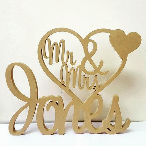 Custom Mr & Mrs in heart Sign