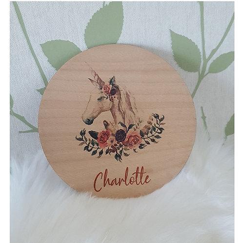 Unicorn Printed Plaque