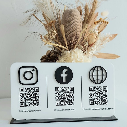 Business Social Media Sign with QR codes - Landscape