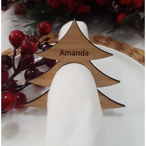 Christmas Tree Personalised Place Name Napkin Rings