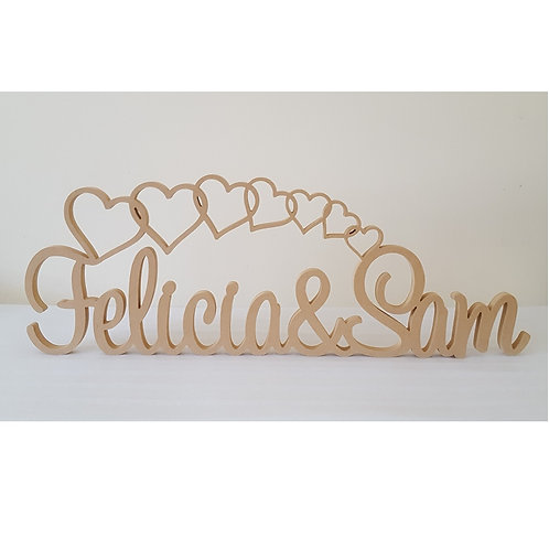 Personalised Cascade hearts with names