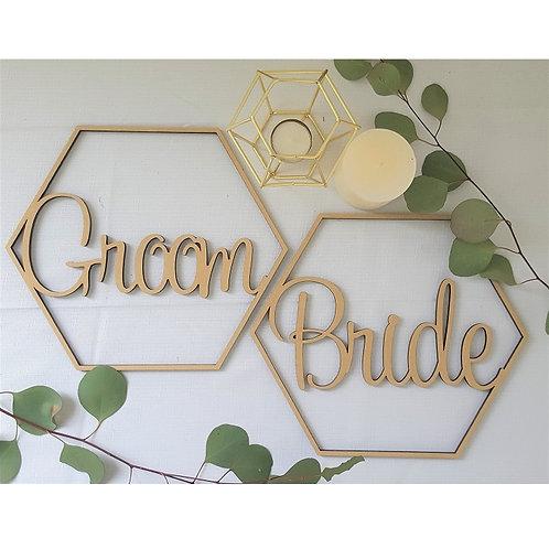 Hexagon Shape Bride Groom Chair Signs