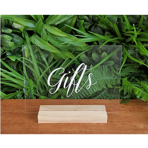 Gifts Acrylic Sign & Base