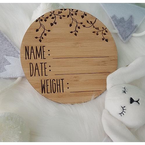 Birth Announcement Plaque - Plain