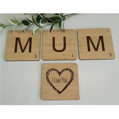 Set of 4 Bamboo Mum/Dad - I Love You Coasters