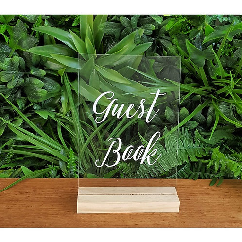 Guest Book Acrylic Sign & Base