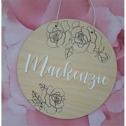 Flower Engraved Acrylic Name Plaque