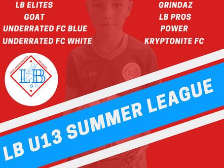 Teams confirmed for the U13 summer league!