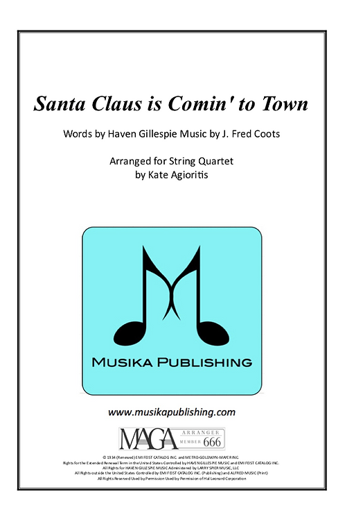 Santa Claus is Coming To Town - Jazz Arrangement for String Quartet