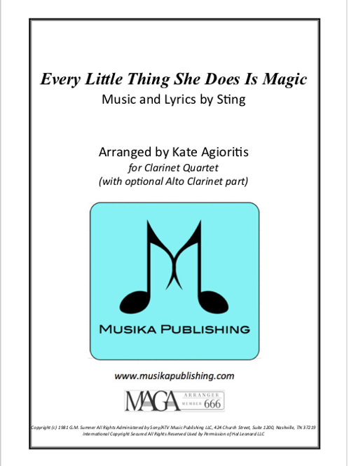 Every Little Thing She Does Is Magic - Clarinet Quartet