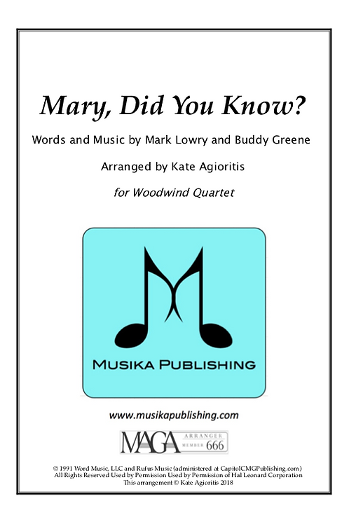 Mary, Did You Know? - Woodwind Quartet