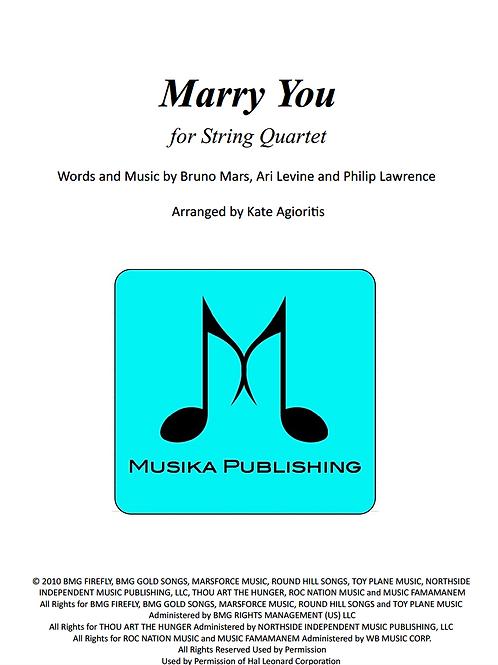 Marry You (Bruno Mars) - for String Quartet