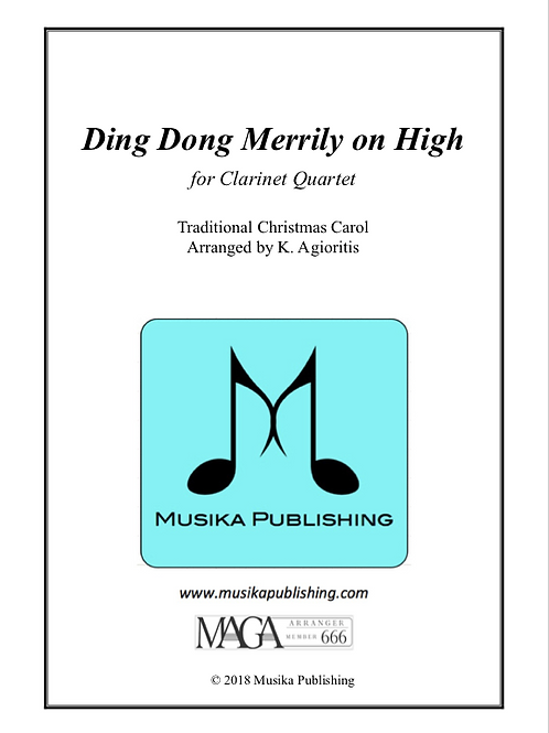 Ding Dong Merrily on High (Traditional) - for Clarinet Quartet