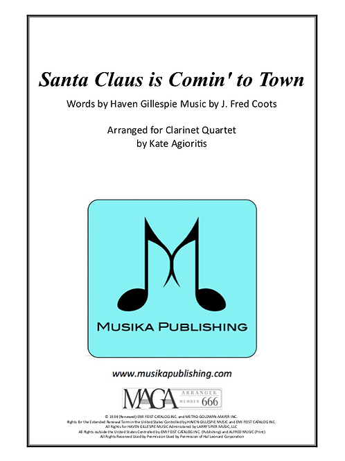 Santa Claus is Coming To Town - Jazz Arrangement for Clarinet Quartet