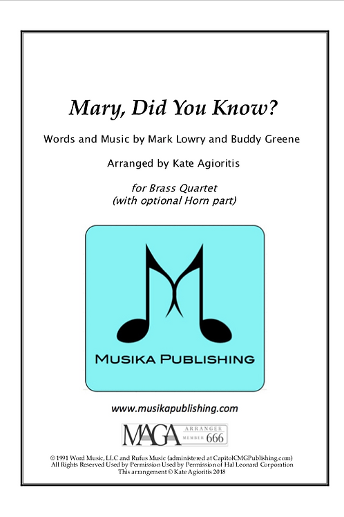 Mary, Did You Know? - Brass Quartet