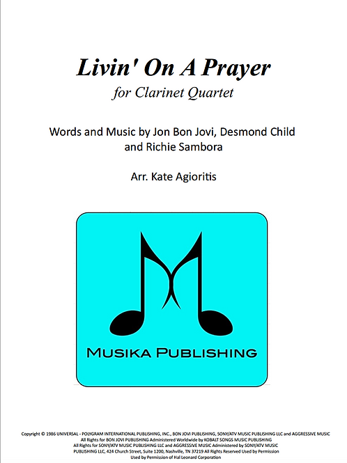 Livin' on a Prayer (Bon Jovi) - Clarinet Quartet
