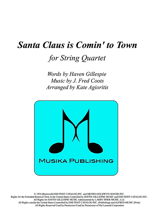 Santa Claus is Coming to Town - String Quartet