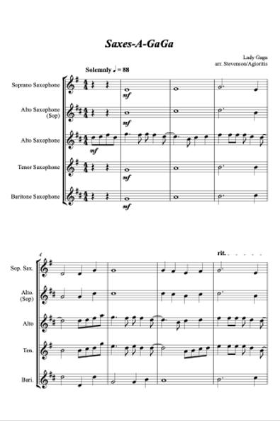 Saxes-a-Gaga - Lady Gaga Medley for Sax Quartet