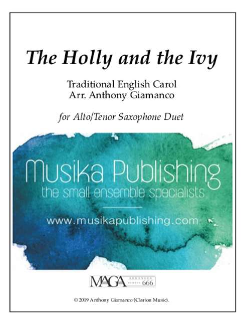 The Holly and the Ivy -A/T Saxophone Duet