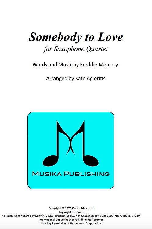 Somebody to Love (Queen) - Saxophone Quartet