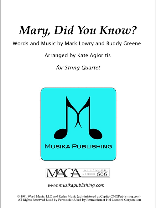 Mary, Did You Know? - String Quartet