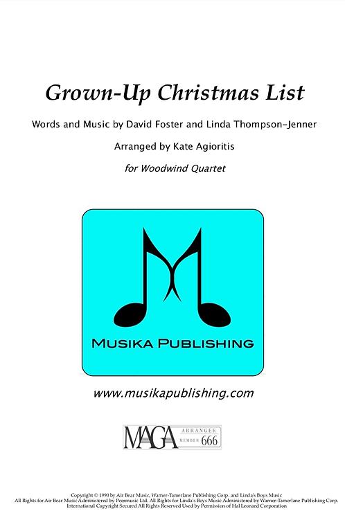 Grown-Up Christmas List - Woodwind Quartet