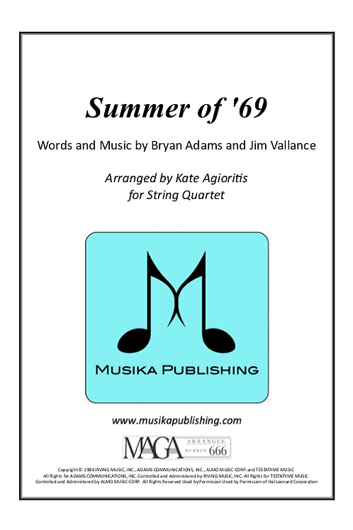 Summer of '69 - String Quartet