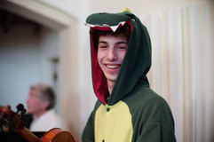 Jared hiding as dinosaur