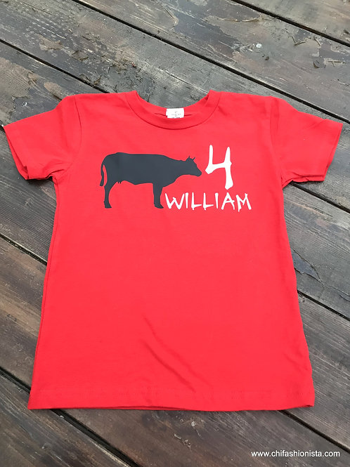Personalized Cow Birthday Tee