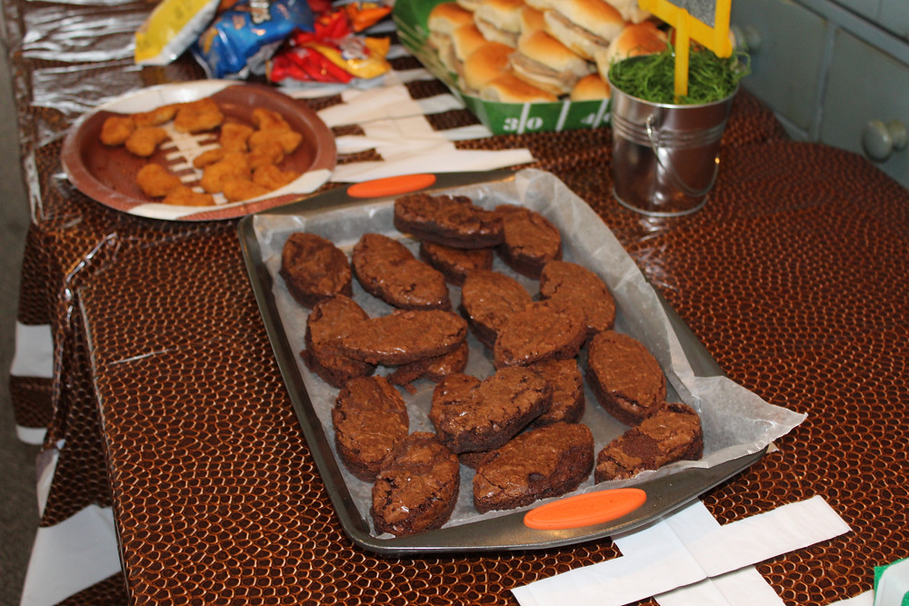 Football brownies, football desserts, party snacks, football food, football party