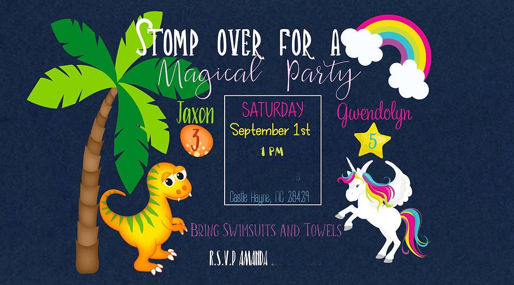 Dinosaur, unicorn, Birthday Party, Invitation