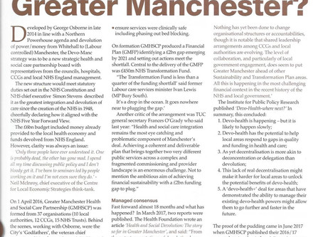 Greater Manchester Healthcare Devolution - an update