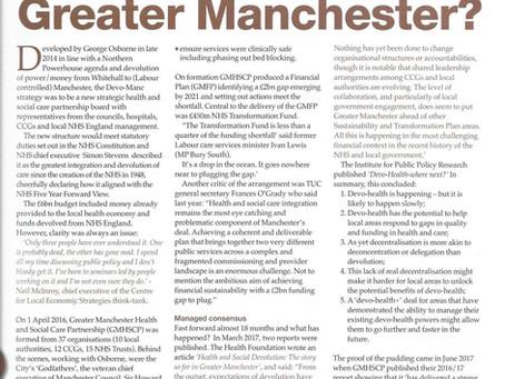 Greater Manchester Healthcare Devolution - an update