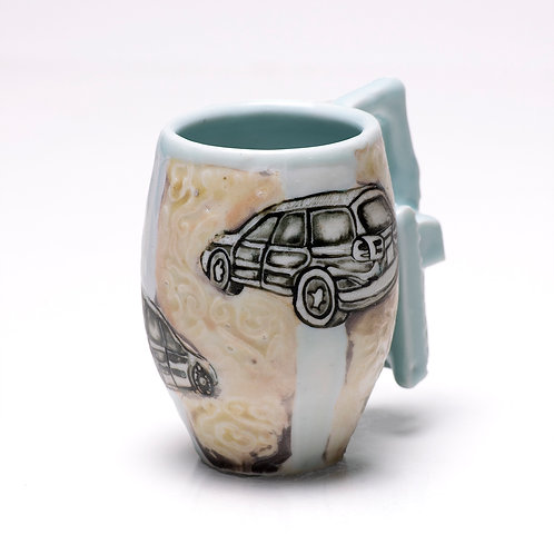 Subaru Legacy mug w/ excavator handle