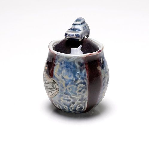 Subaru Forester tea/spice jar with etchings and illustration
