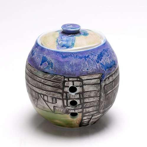 Garlic jar with etchings from downtown Missoula, Montana