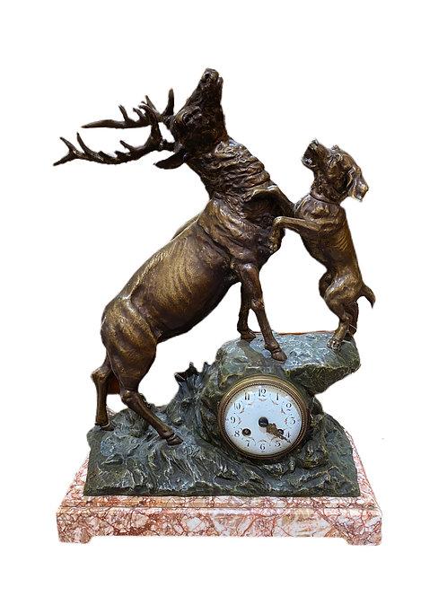 Metal Sculpture Stag & Hound Clock