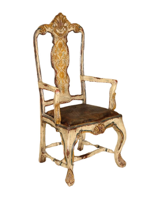 Liberian Style Painted & Tooled Leather Chair