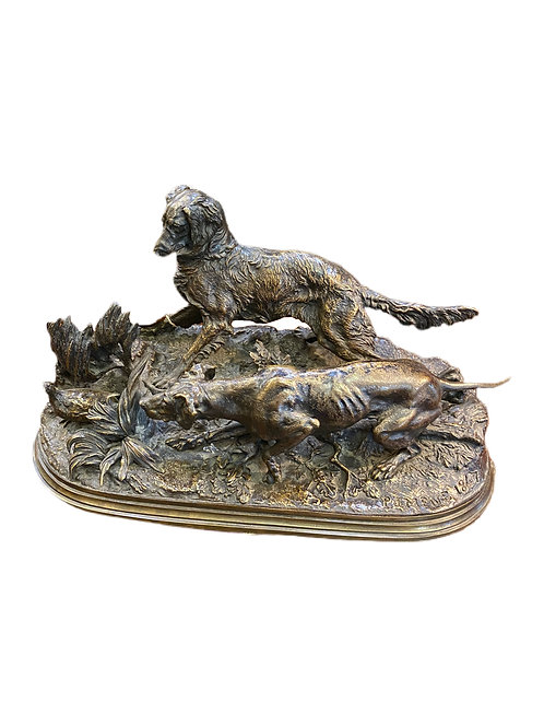 Bronze Dogs with Pheasant French 1847 Signed P.J Mene