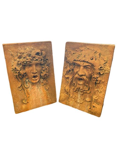 Pair of Terra-Cotta Fountain Heads