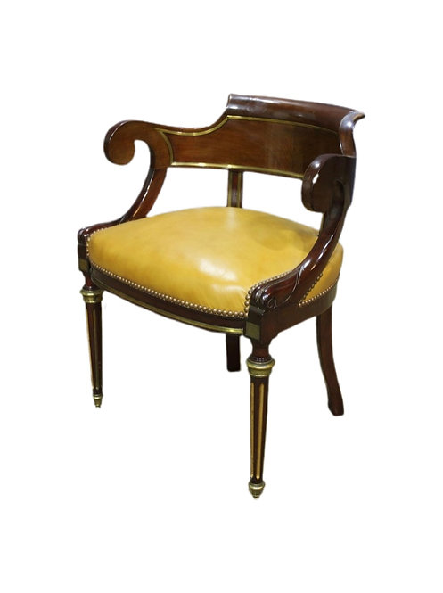 French Directoire/Empire Style Bronze Mounted Chair