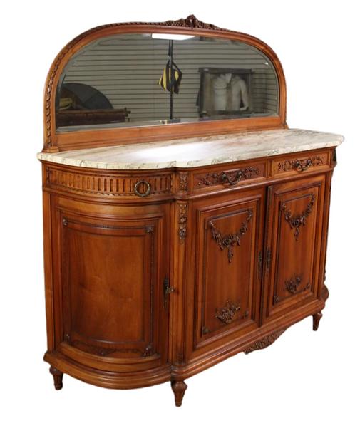 Louis XVI Style Marble Top Sideboard.