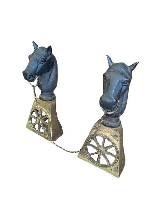 Pair of Horse Andirons