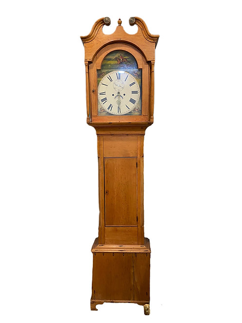 1830's British a day movement Grandfather Clock with Hunt Scene