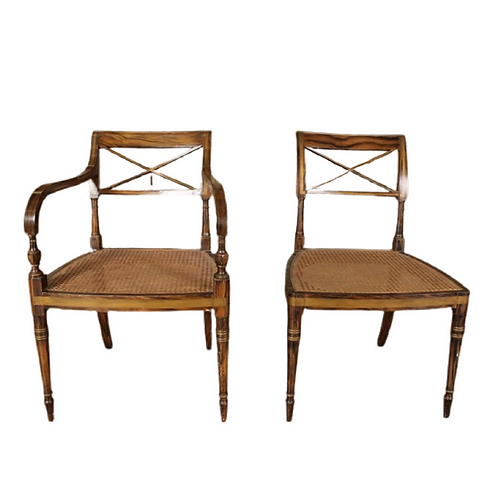 4 Sheraton Period Dining chairs Faux Rosewood Painted