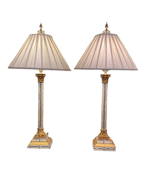 Pair of Lucite & Glass Lamps