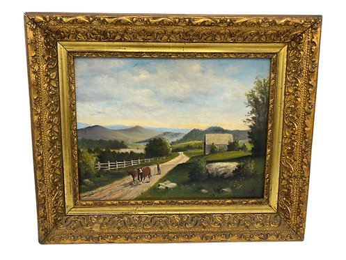 Signed Landscape Oil on Board with Cows
